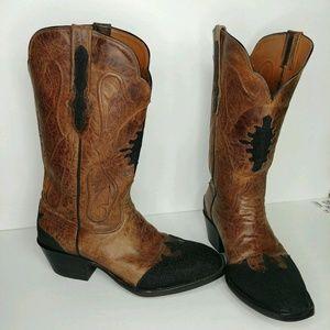 Black Jack Leather & Stingray Western Cowboy Boots